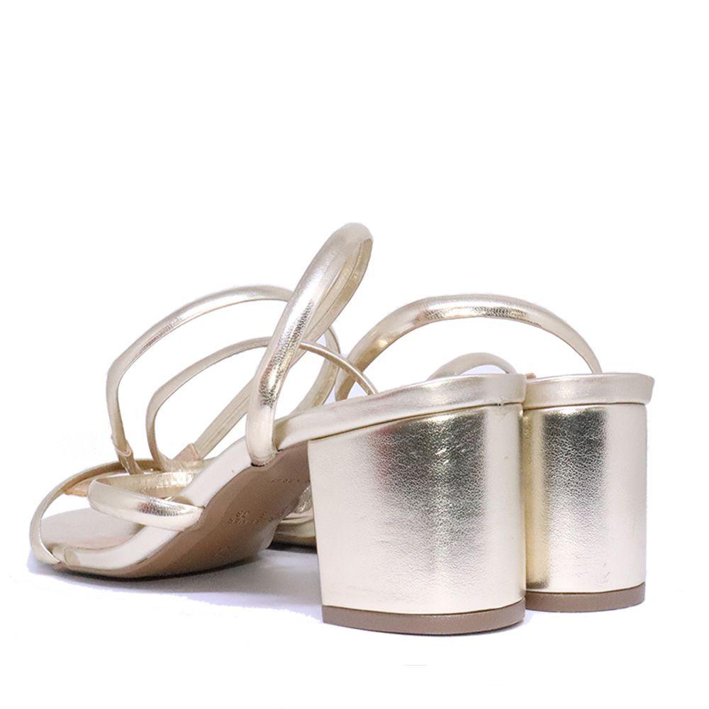 Sandália salto bloco em tiras ouro light