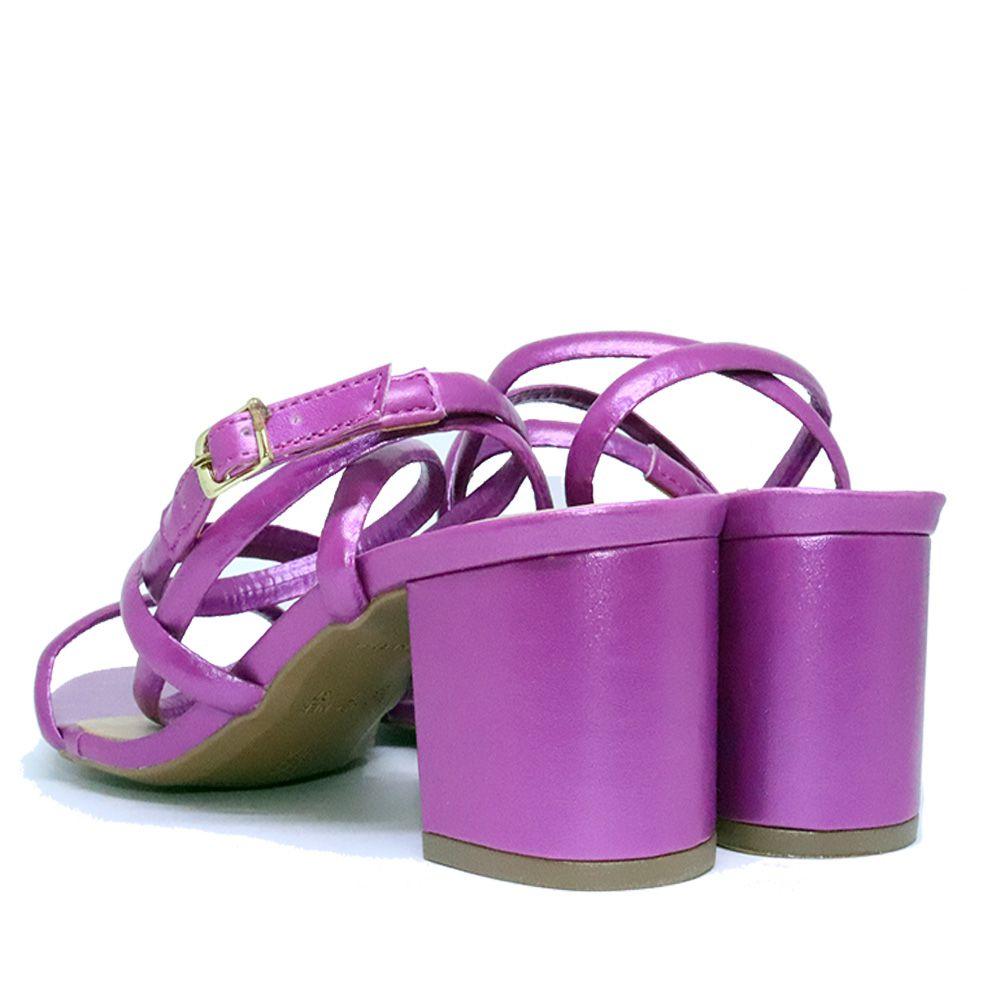 Sandália salto bloco em tiras pink