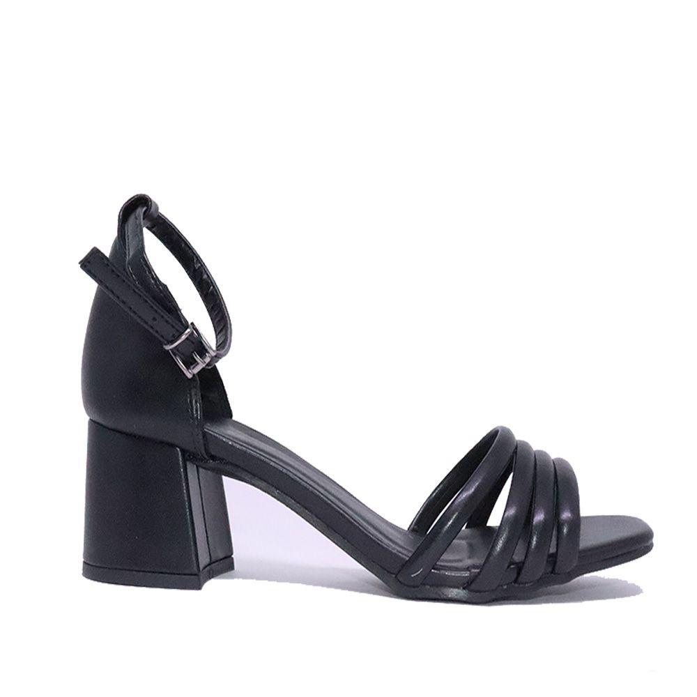 Sandália salto bloco tiras frontais preto.