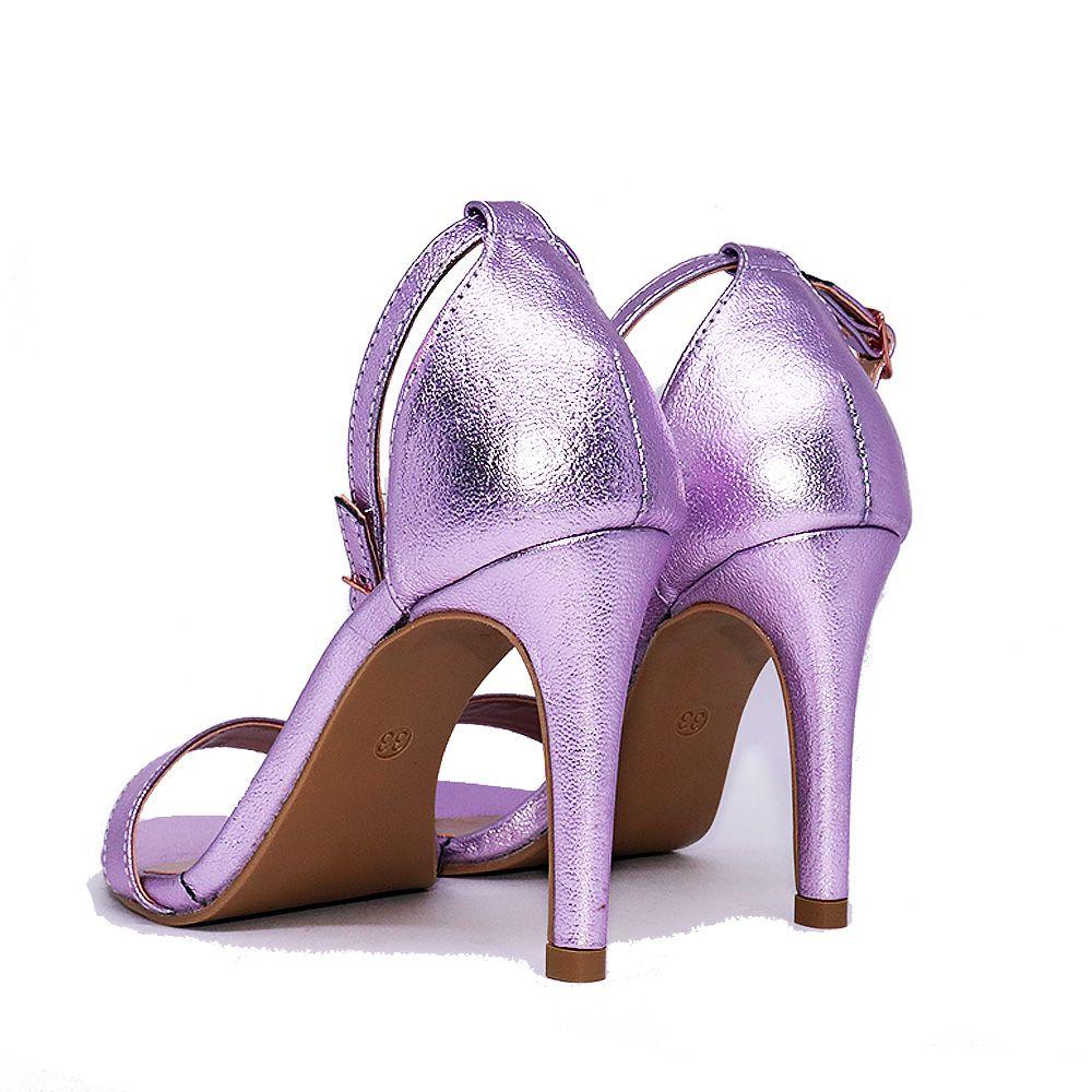 Sandália Salto Fino Tira Fina Metalizada Rose