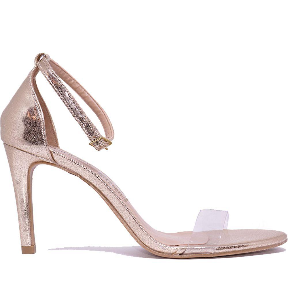 Sandália salto fino tira frente de vinil dourada