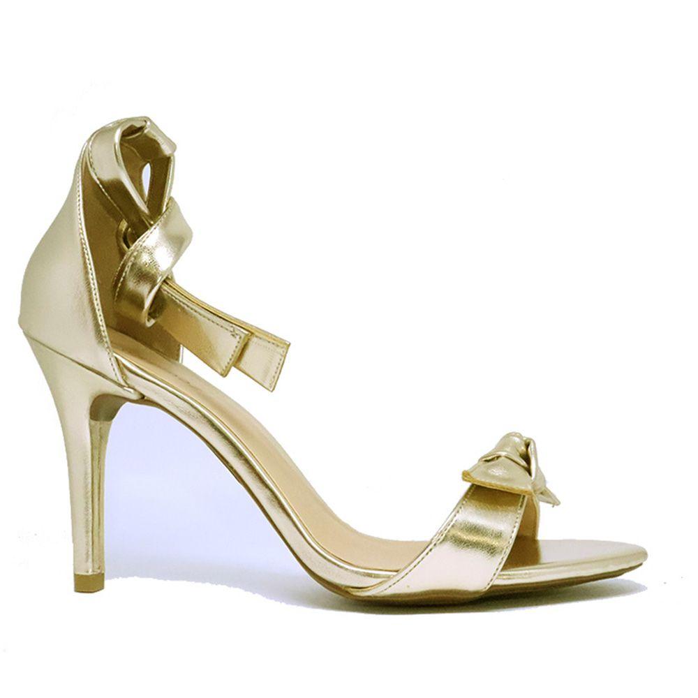 Sandália salto fino tira frente tira com nó dourada