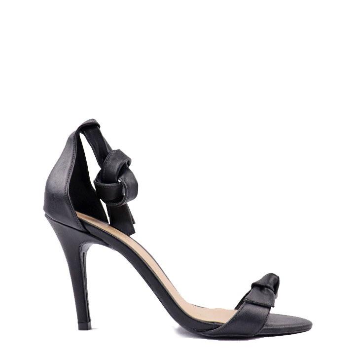 Sandália salto fino tira frente tira com nó preto