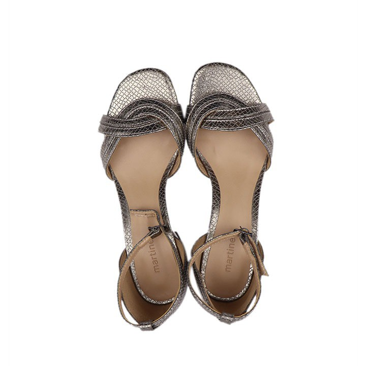 Sandália transpassada de salto bloco tulum pewter