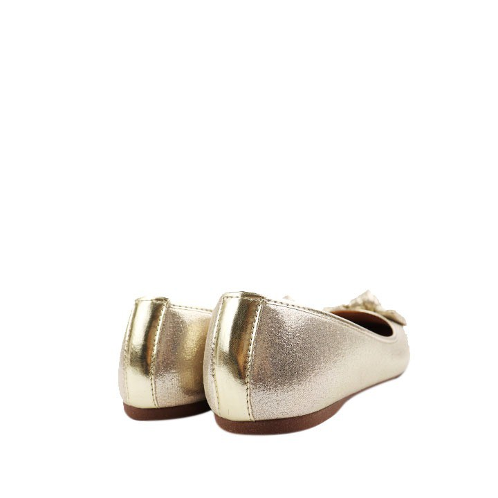 Sapatilha clássica bico redondo metalizado dourado com laço.