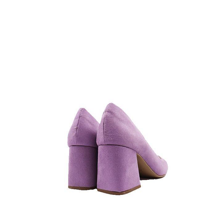 Scarpin clássico bico quadrado salto flare lilás