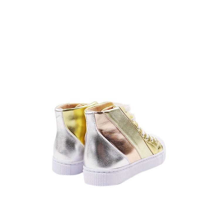 Tênis Alice cano alto de camadas multicolor