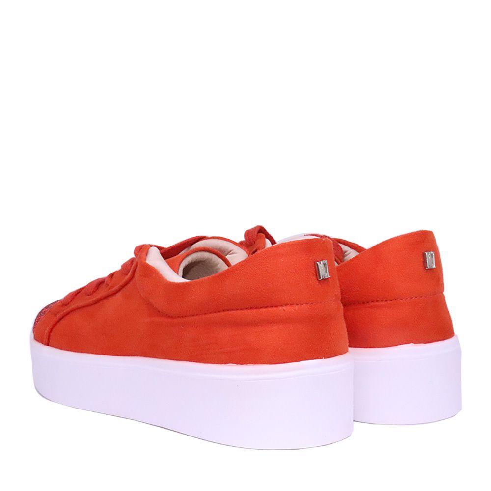 Tênis cadarço com strass laranja