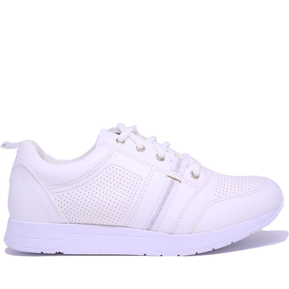 Tênis clássico jogging branco com cadarço.