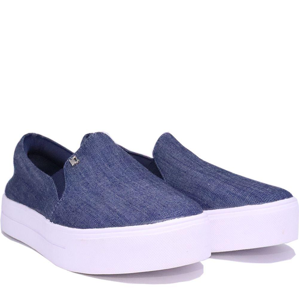 Tênis Slip On clássico jeans halley50  com pingente MZ.