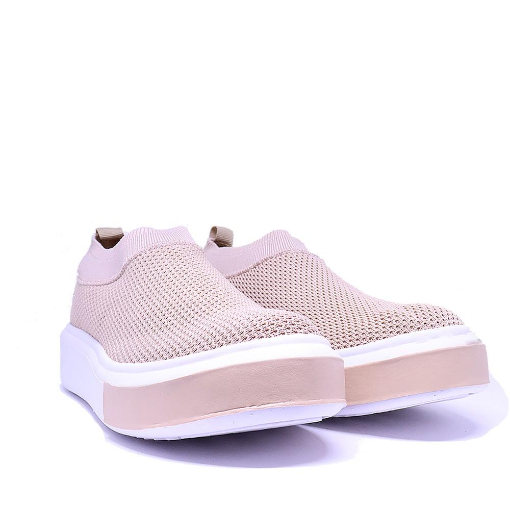 Tênis Sneaker bege Knit trico