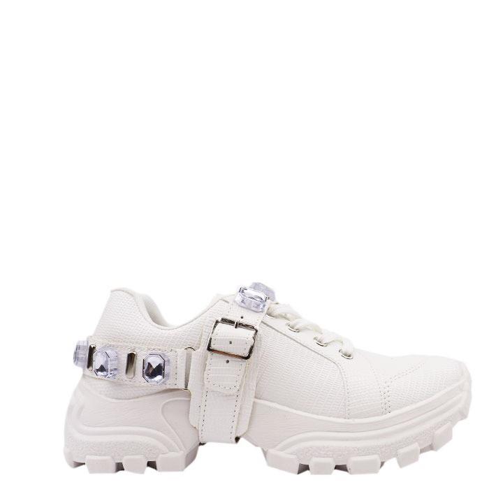 Tênis Sneaker texturizado com pulseira de cristais removível.