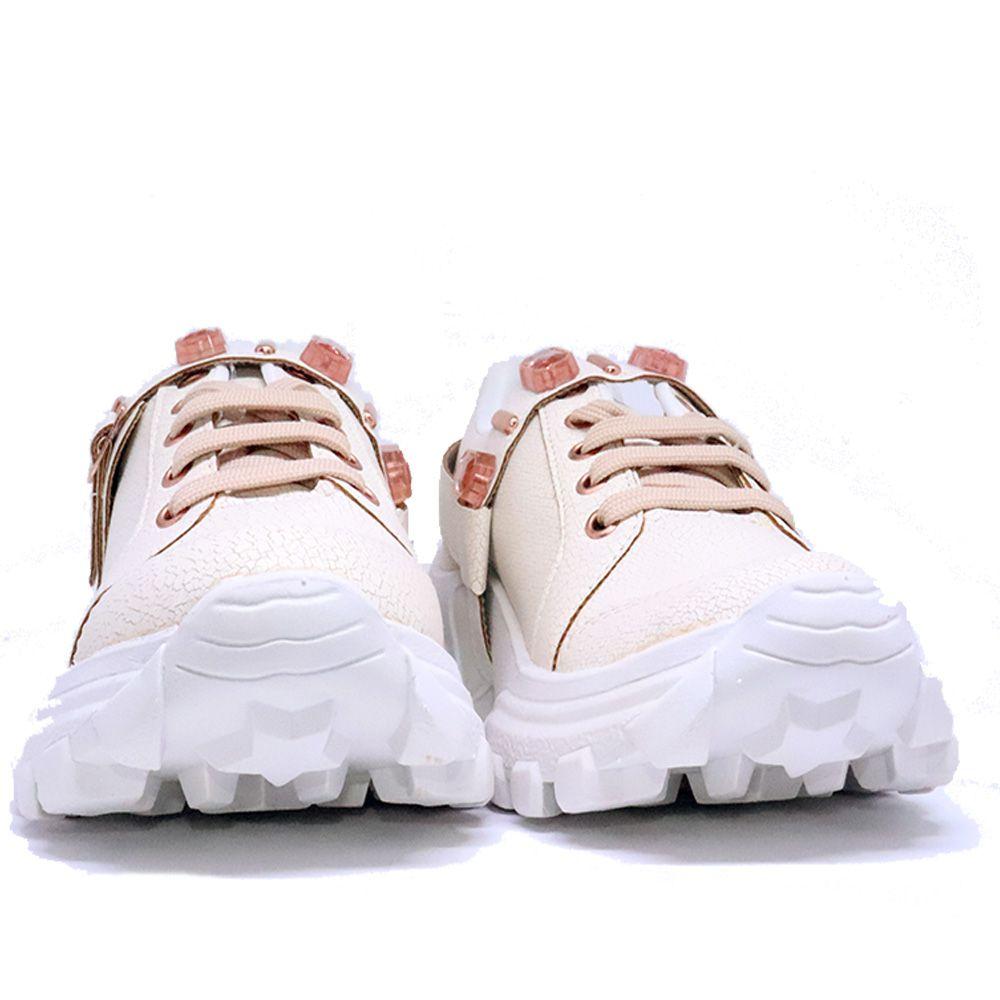 Tênis Sneaker chunky craquele  com pulseira de cristais rose.
