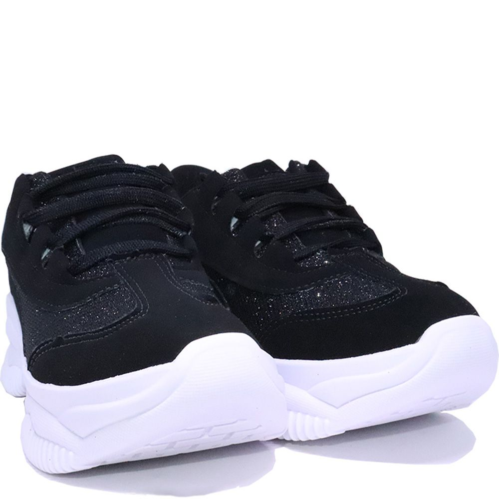Tênis chunky sneaker nobuck preto gliter