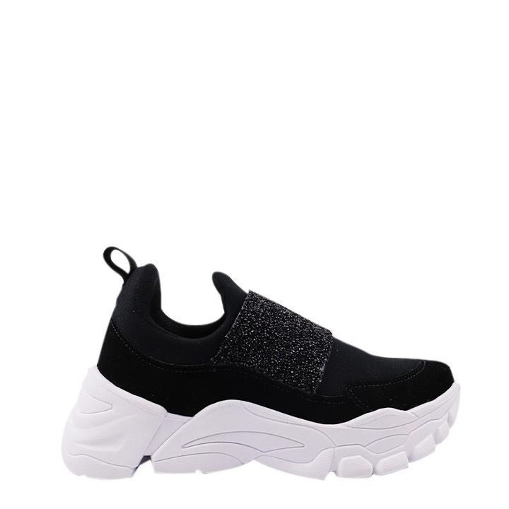 Tênis Sneaker  Knit com fita em gliter