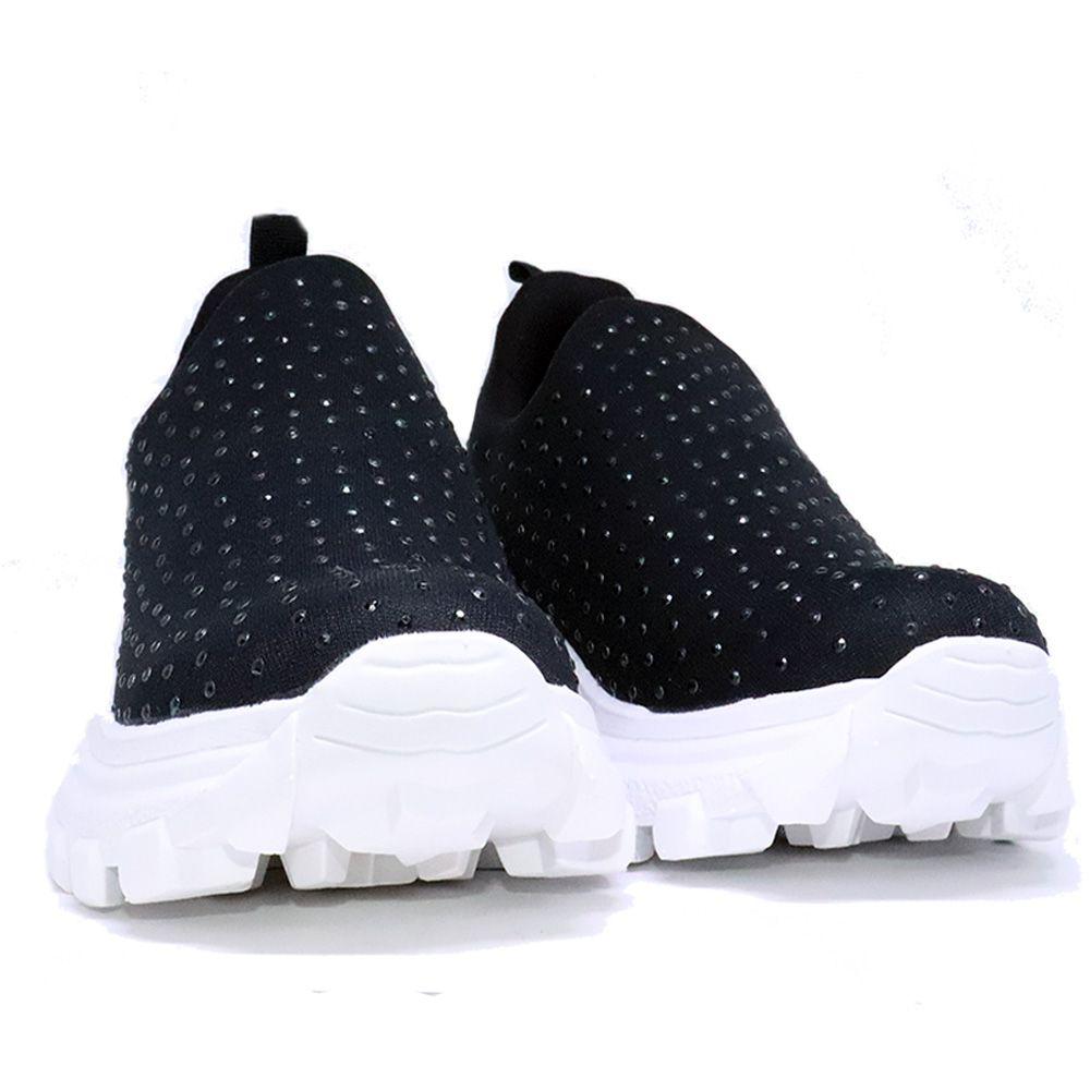 Tênis Sneaker preto Knit com strass.