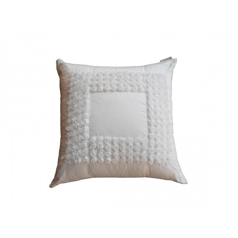 Almofada MINI-ROSES percal branca 40x40