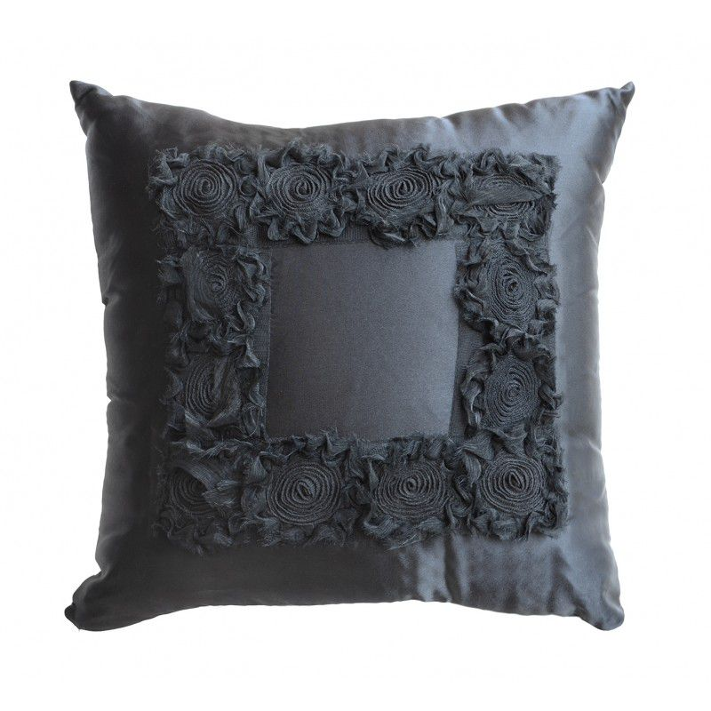 Almofada ROSES cetim black 40x40