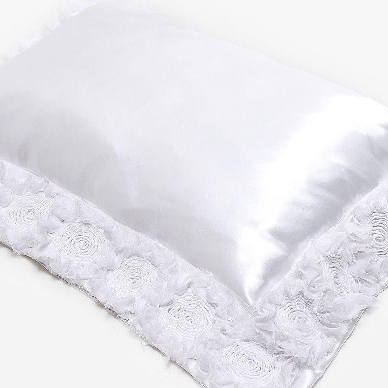 Almofada ROSES cetim branco 45x55