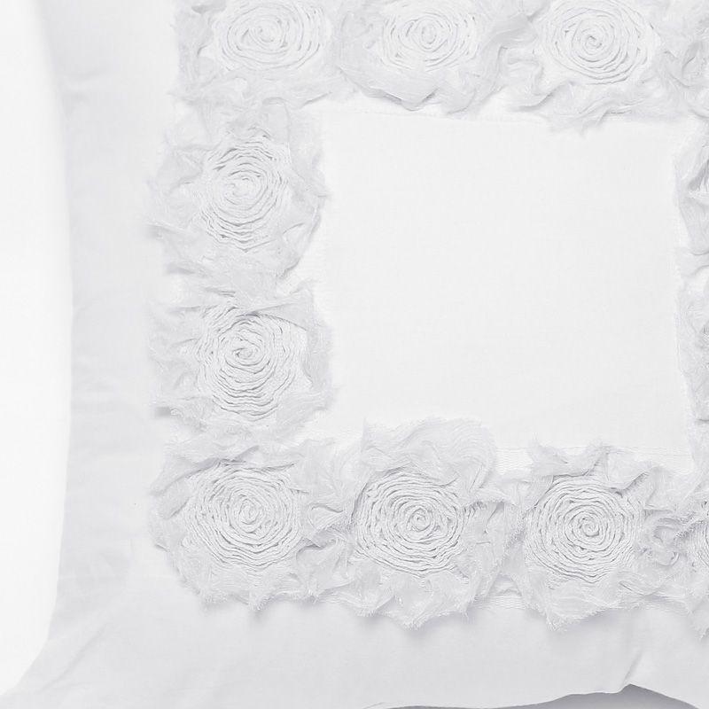 Almofada ROSES percal branco 40x40