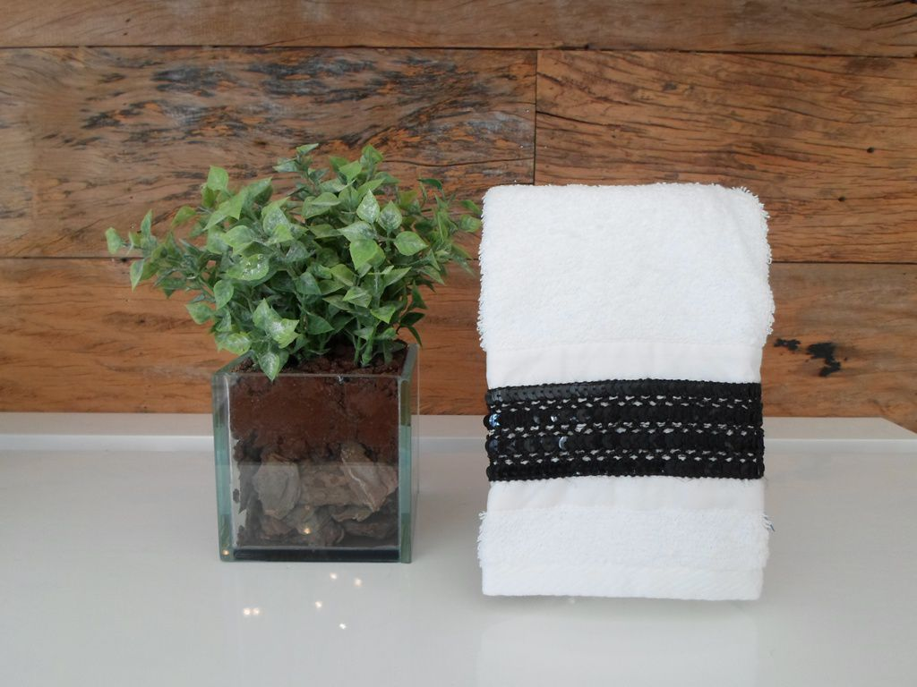 Toalha Lavabo GLAMOUR preta/branca