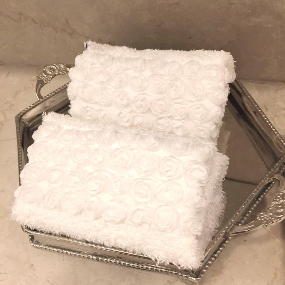 Toalha Lavabo MINI ROSES branca