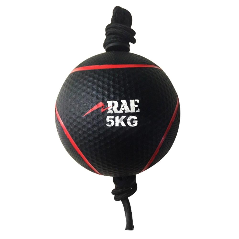 Bola Emborrachada para Treinamento Funcional - Medicine Ball com Corda 5 kg - Rae Fitness