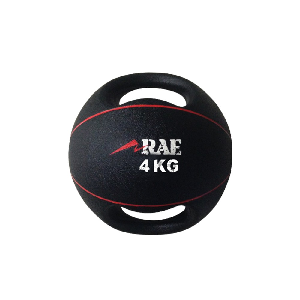 Bola Emborrachada para Treinamento Funcional - Medicine Ball com Duas Pegadas 4 kg - Rae Fitness