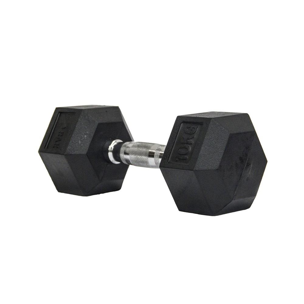 Dumbbell - Halter Sextavado Emborrachado com Pegada Cromada de 10 kg - Rae Fitness