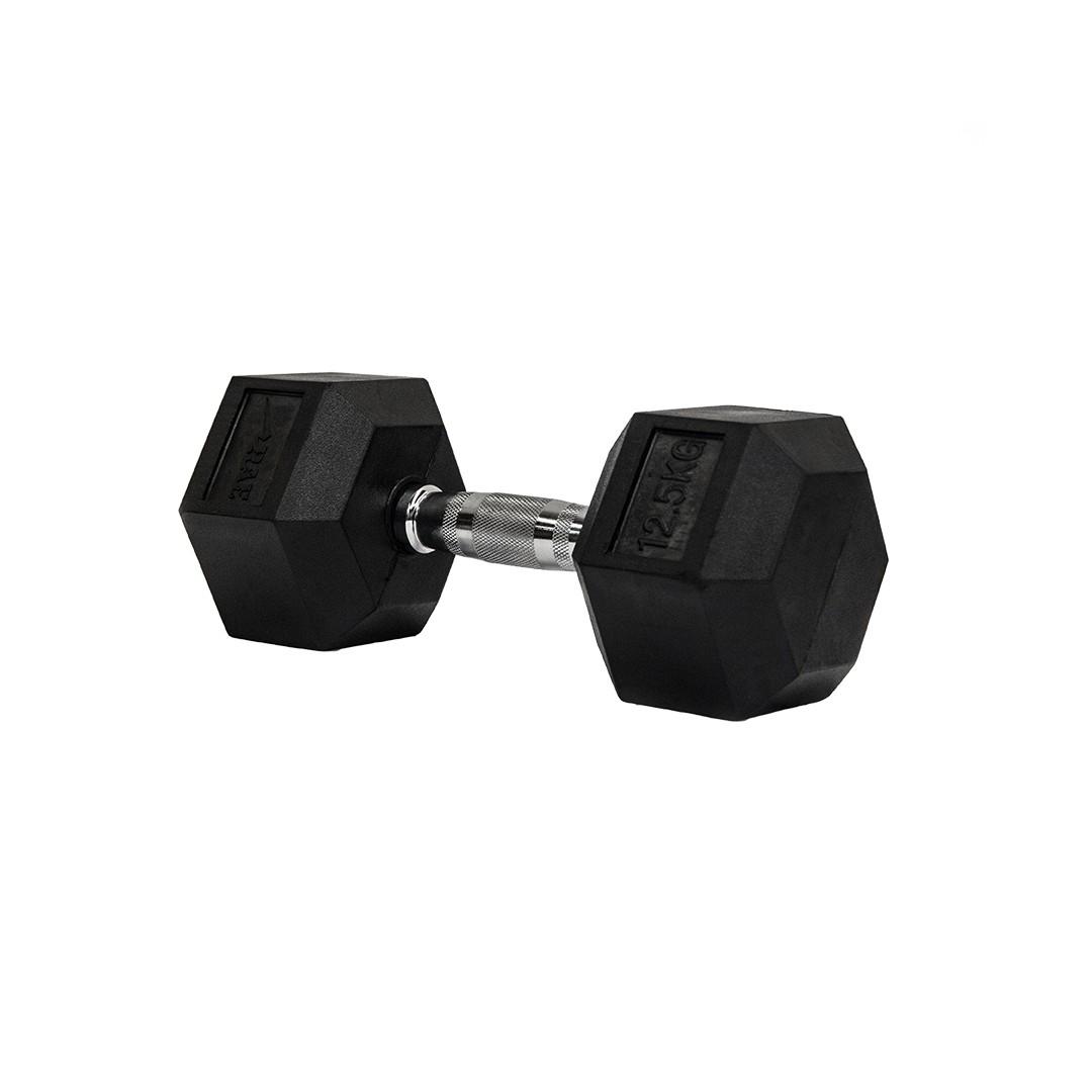Dumbbell - Halter Sextavado Emborrachado com Pegada Cromada de 12,5 kg - Rae Fitness