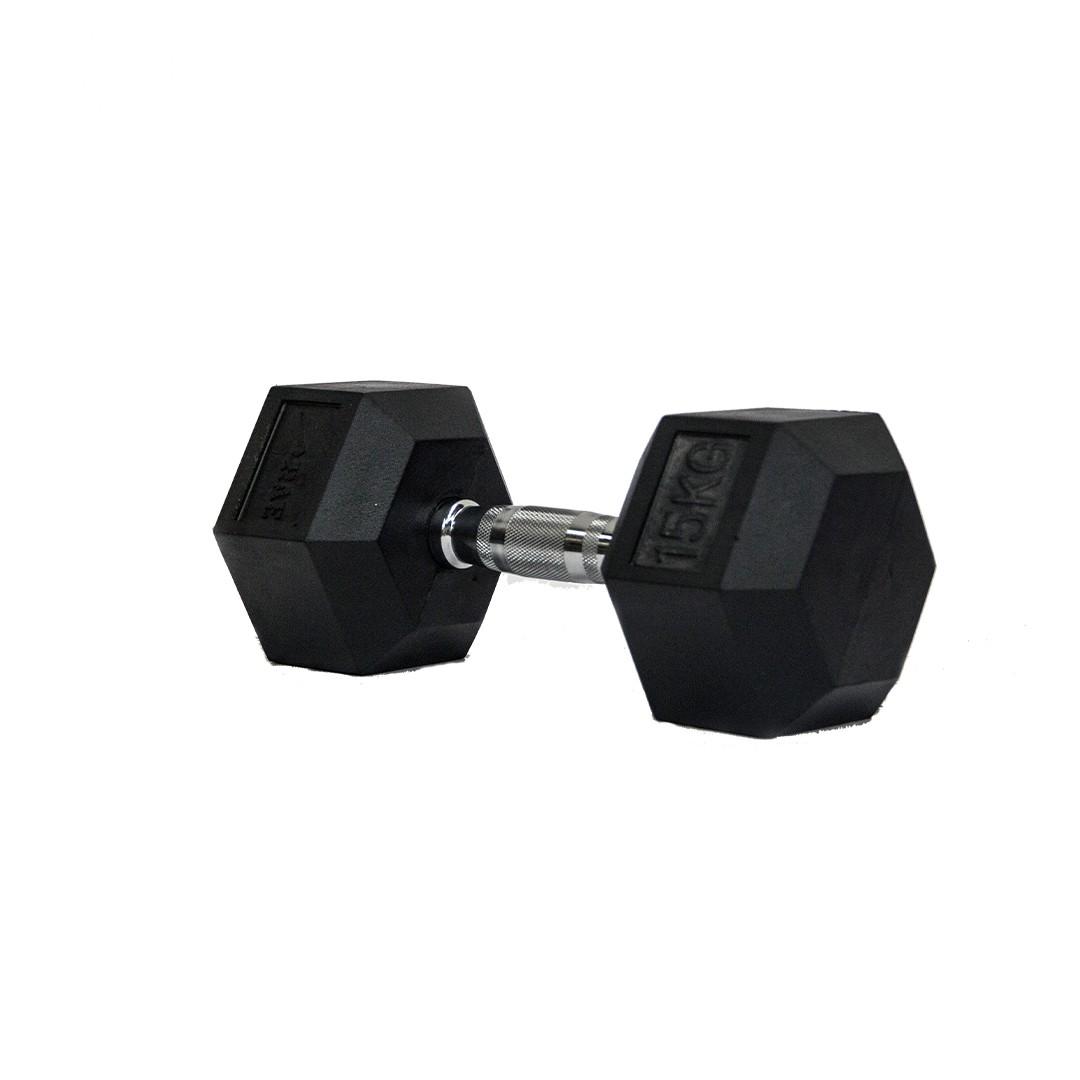Dumbbell - Halter Sextavado Emborrachado com Pegada Cromada de 15 kg - Rae Fitness