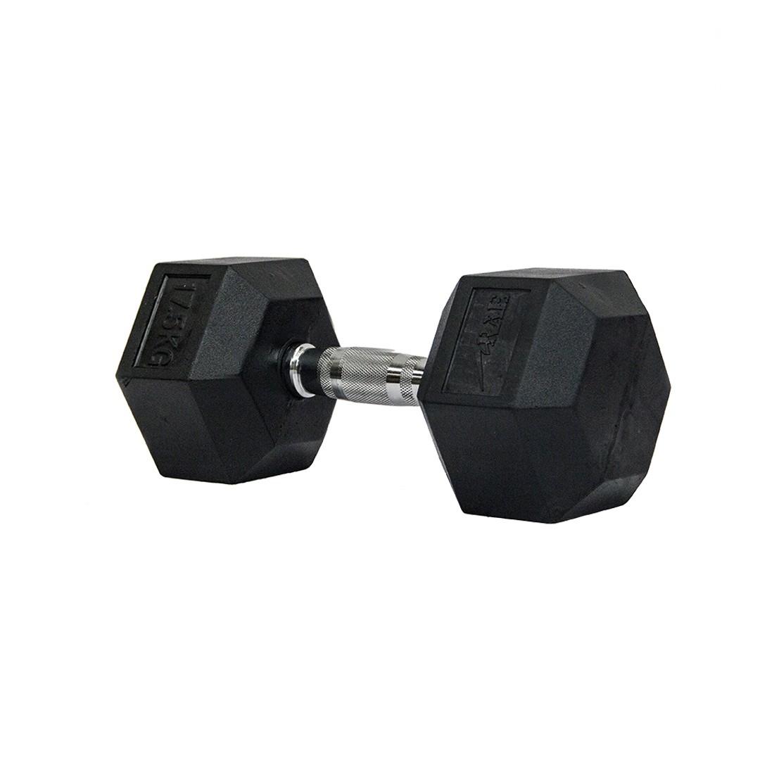 Dumbbell - Halter Sextavado Emborrachado com Pegada Cromada de 17,5 kg - Rae Fitness