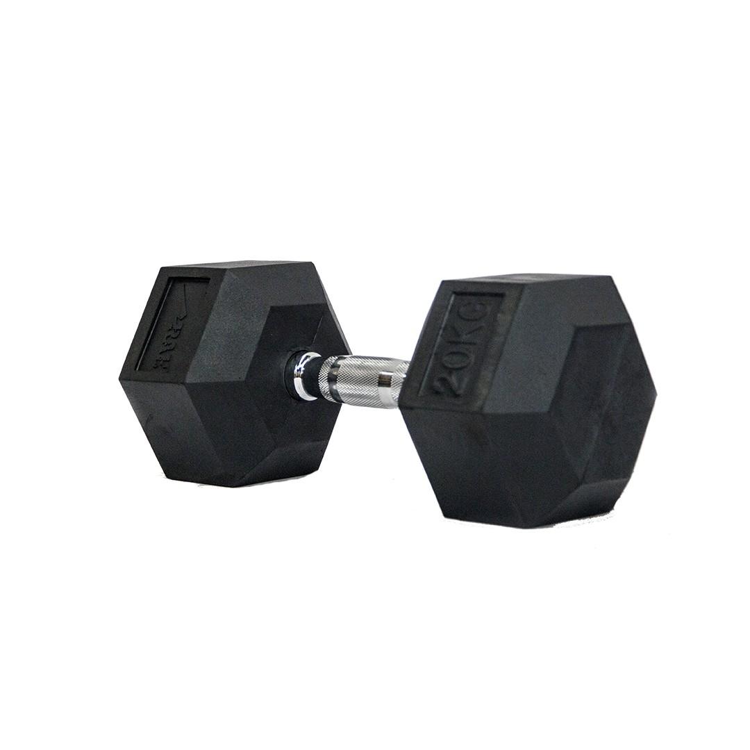 Dumbbell - Halter Sextavado Emborrachado com Pegada Cromada de 20 kg - Rae Fitness