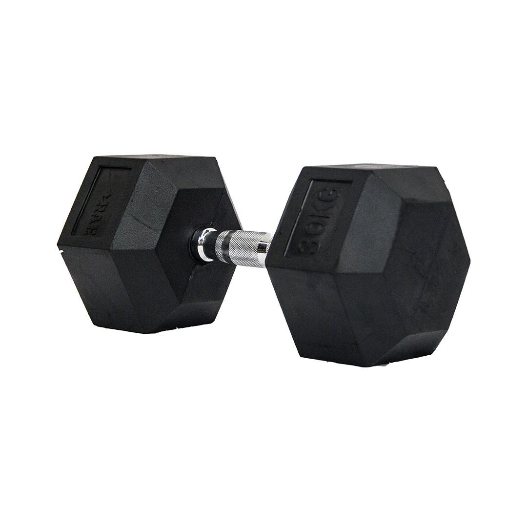 Dumbbell - Halter Sextavado Emborrachado com Pegada Cromada de 30 kg - Rae Fitness