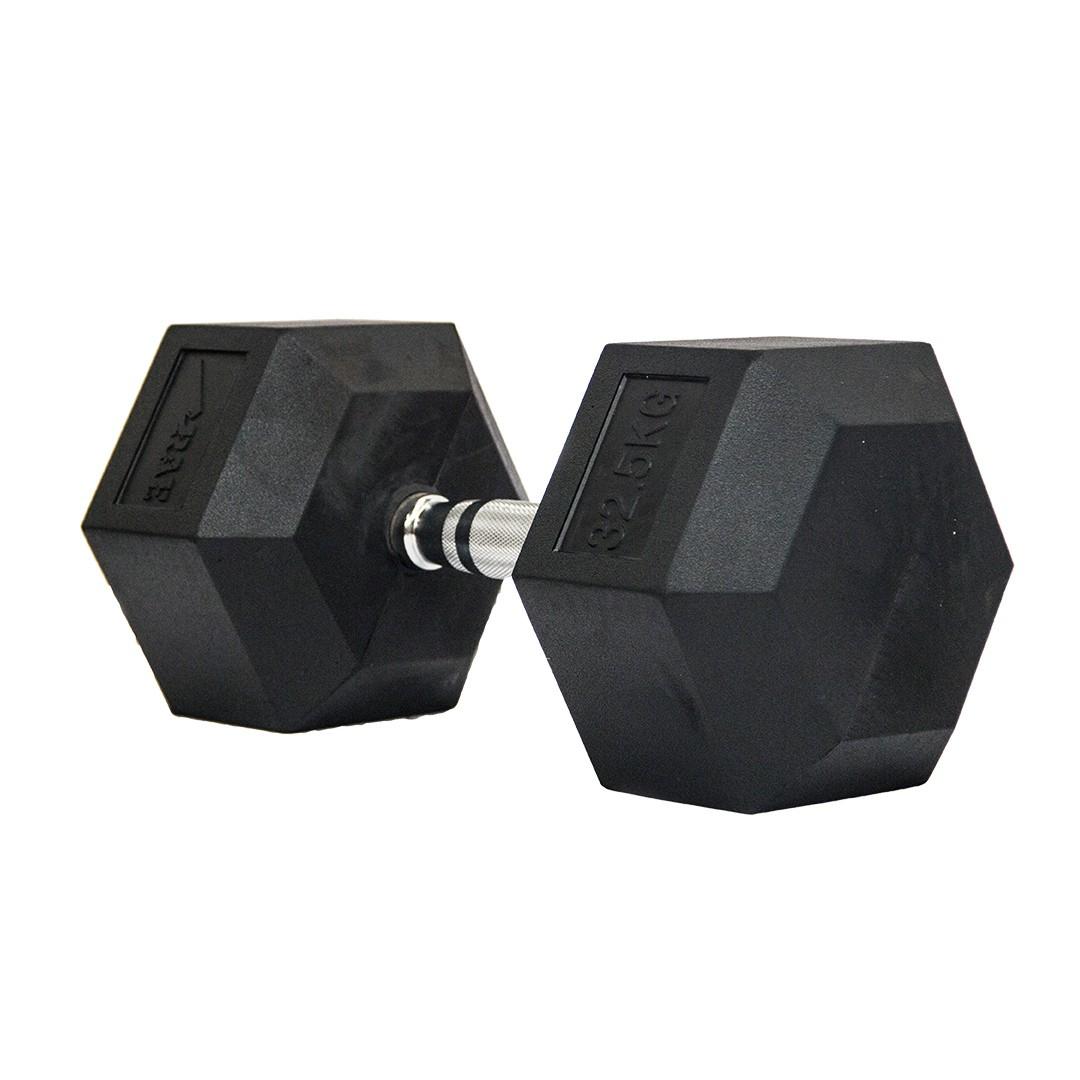 Dumbbell - Halter Sextavado Emborrachado com Pegada Cromada de 32,5 kg - Rae Fitness