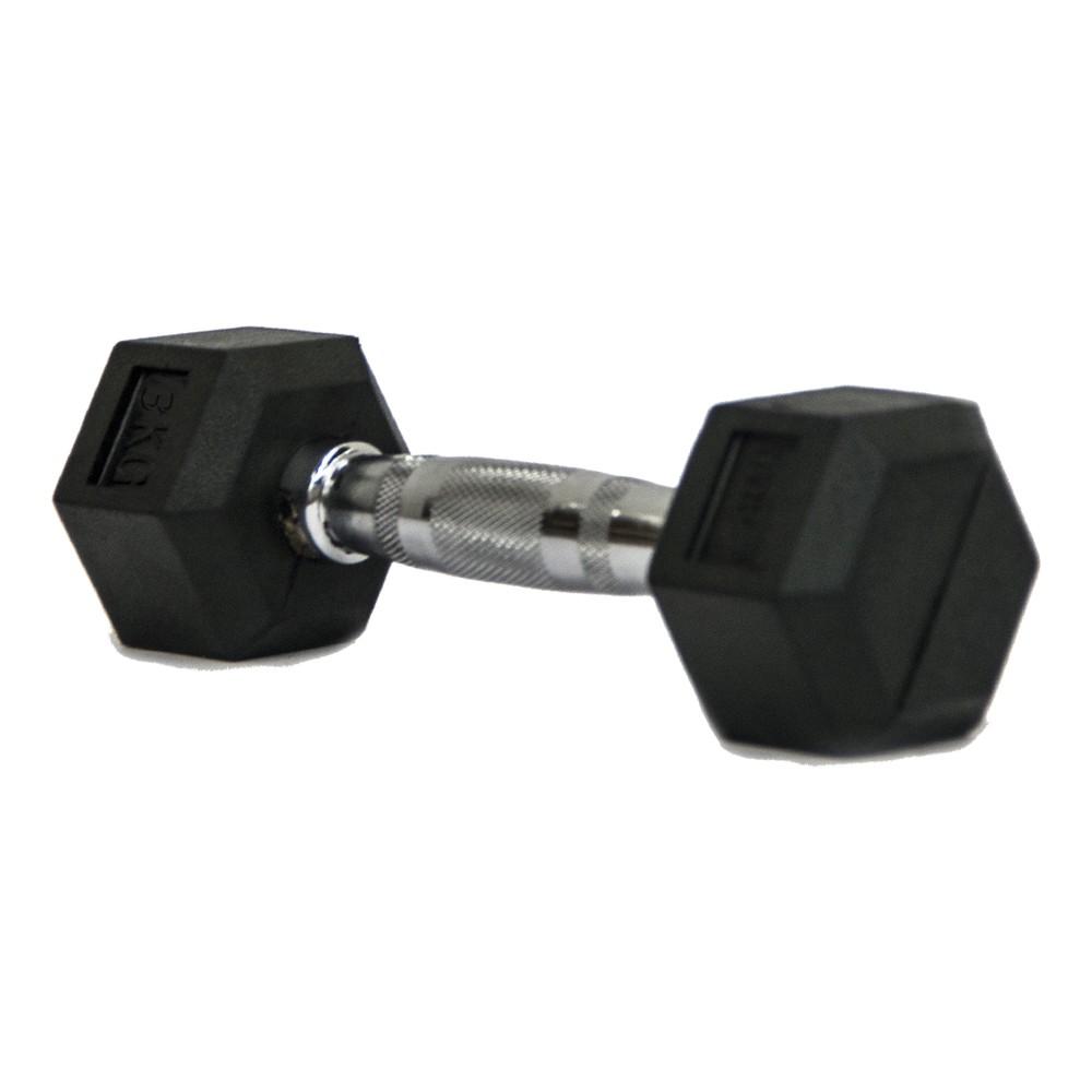 Dumbbell - Halter Sextavado Emborrachado com Pegada Cromada de  3 kg - Rae Fitness