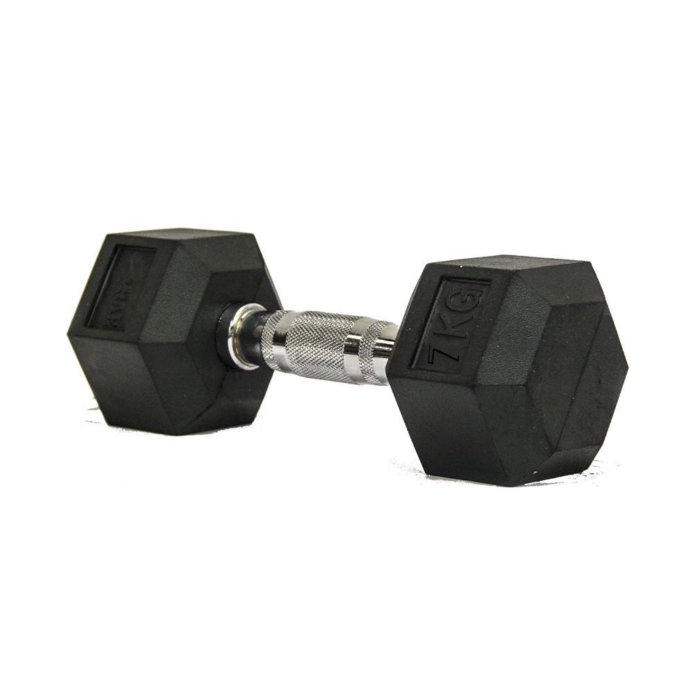 Dumbbell - Halter Sextavado Emborrachado com Pegada Cromada de  7 kg - Rae Fitness