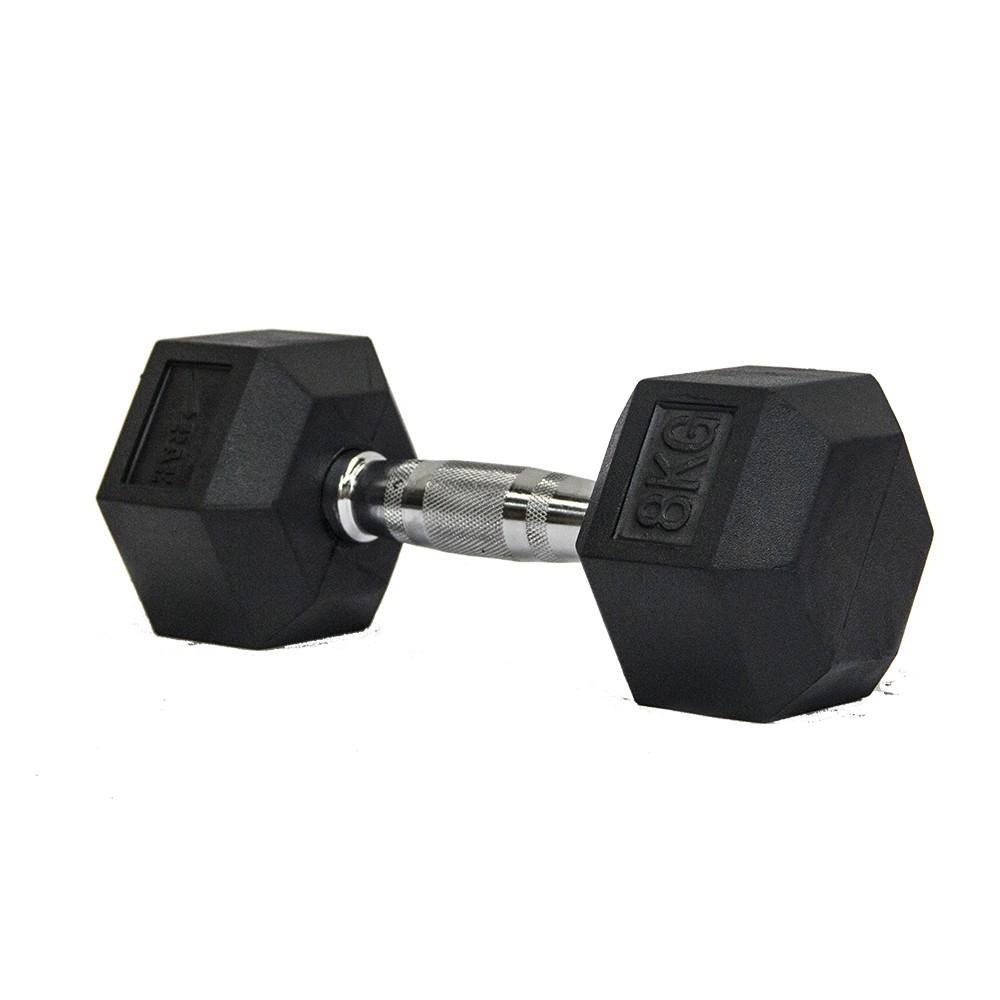 Dumbbell - Halter Sextavado Emborrachado com Pegada Cromada de  8 kg - Rae Fitness