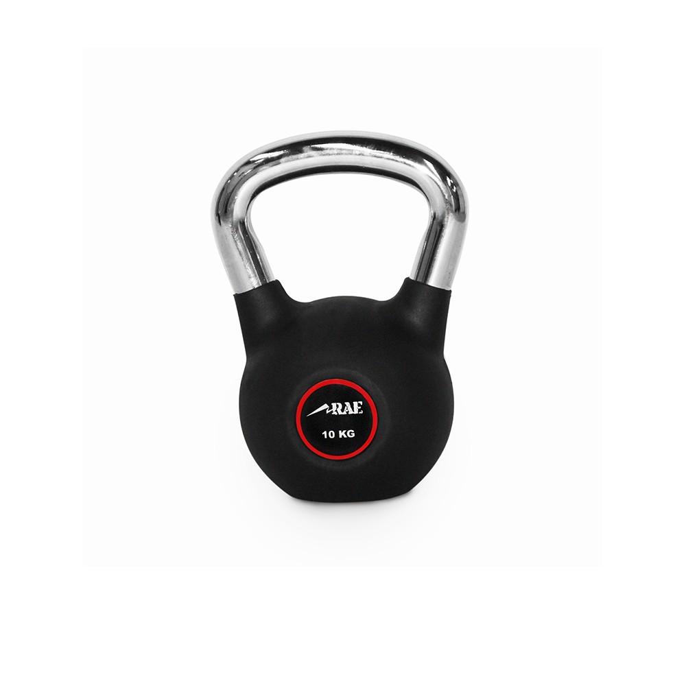 Kettlebell Emborrachado com Pegada Cromada para Treinamento Funcional 10 kg - Rae Fitness