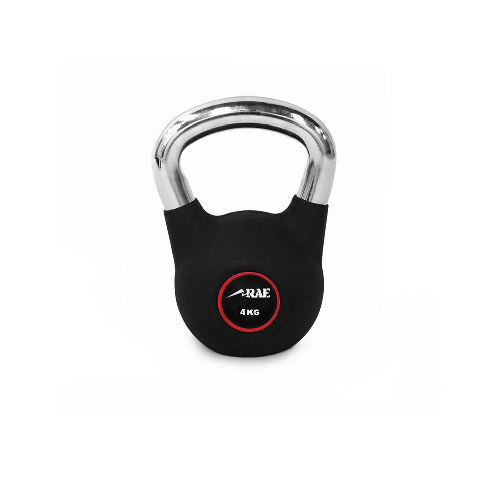 Kettlebell Emborrachado com Pegada Cromada para Treinamento Funcional  4 kg - Rae Fitness