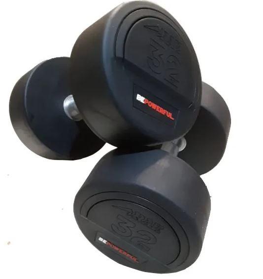 Kit de Dumbbell - Halter Redondo Emborrachado Epic com Pegada em Hard Cromo de 12 a 30kg - Rae Fitness