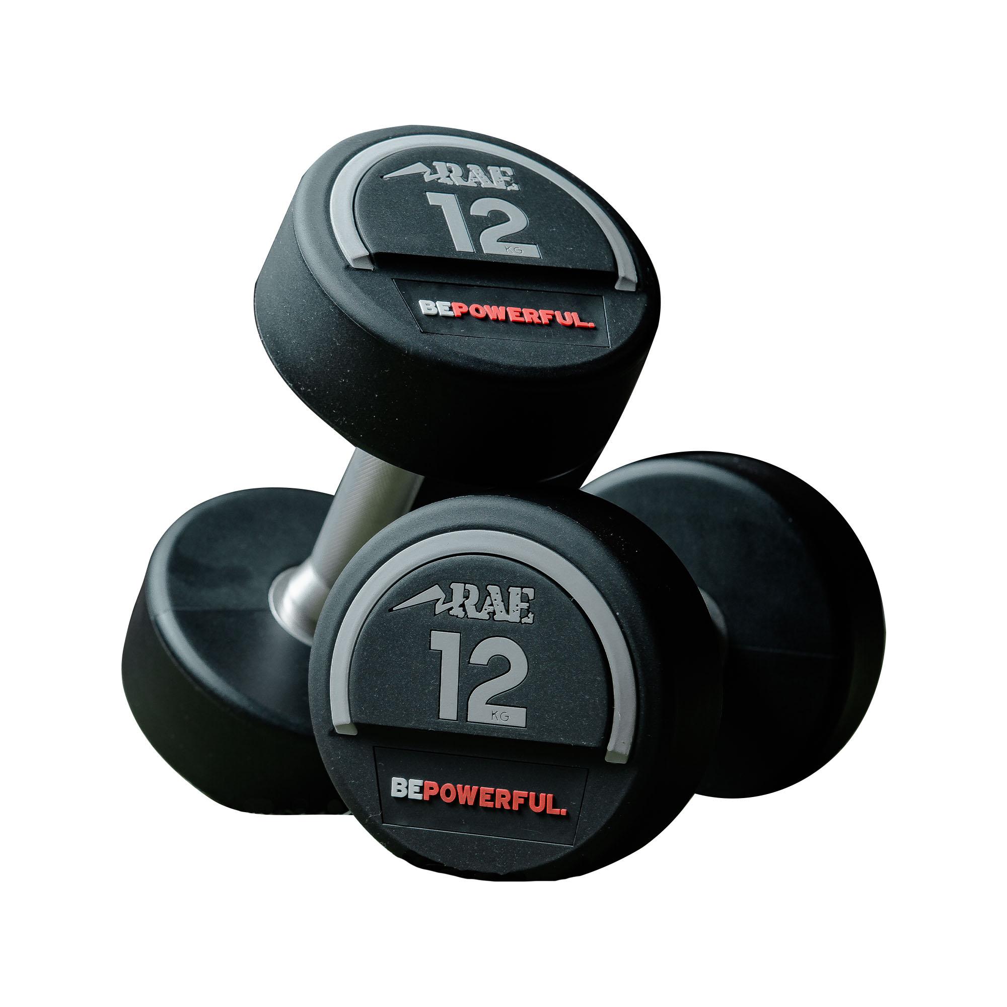 Kit de Dumbbell - Halter Redondo de CPU com Pegada em Aço Inox de 32 a 40kg - Rae Fitness