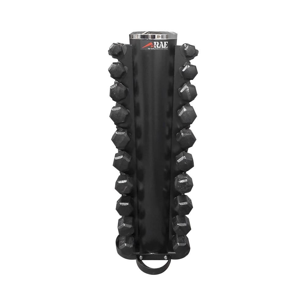 Kit de Halter Sextavado de Ferro Com Revestimento Emborrachado de 1 a 10kg - Com Suporte - Rae Fitness