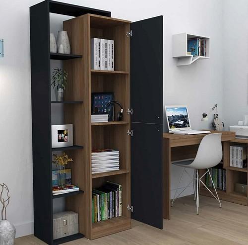 Armário estante com 5 nichos Mooeve preto e castanho - Appunto