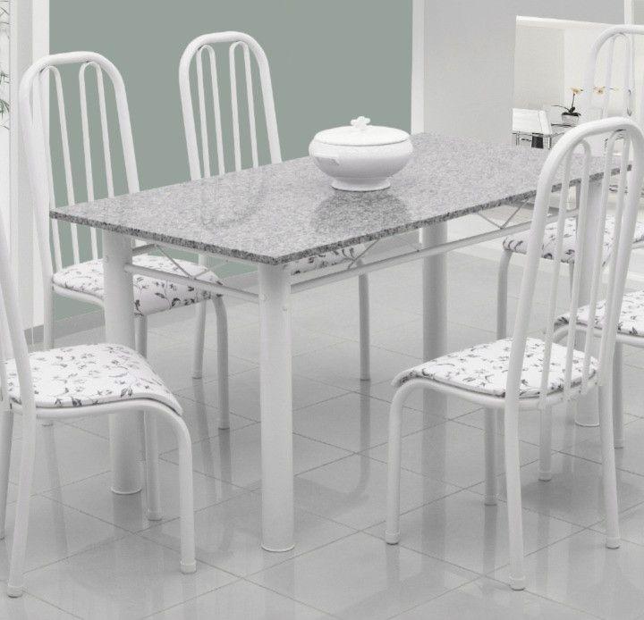 Conjunto Barcelona granito cinza 1,40 x 0,80 c/6 cadeiras - Quality