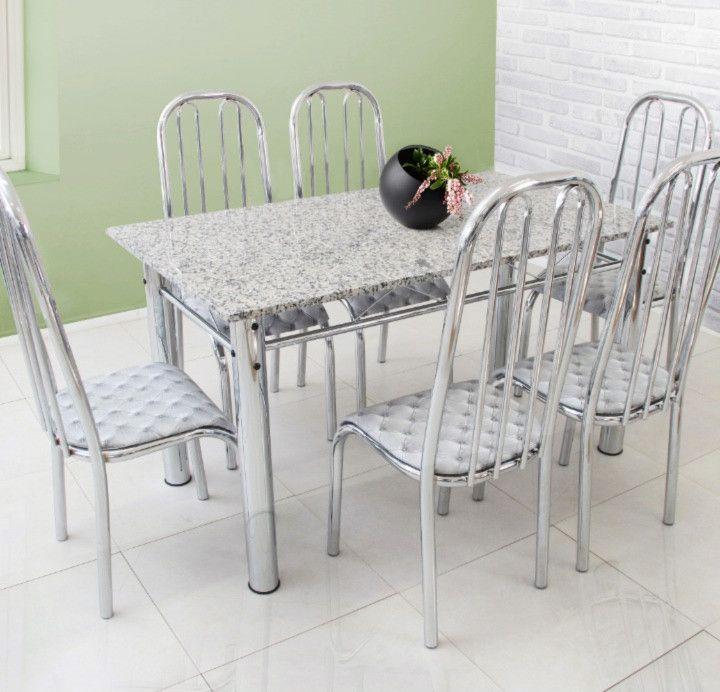 Conjunto Barcelona granito cinza 1,50 x 0,80 c/6 cadeiras Aço Cromado - Quality