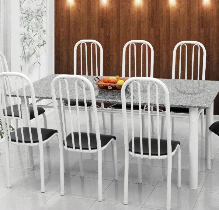 Conjunto Barcelona granito cinza 1,90 x 0,90 c/8 cadeiras - Quality