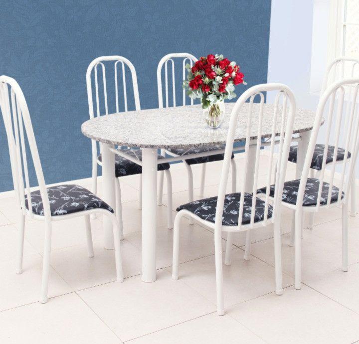 Conjunto Barcelona granito cinza oval c/6 cadeiras - Quality