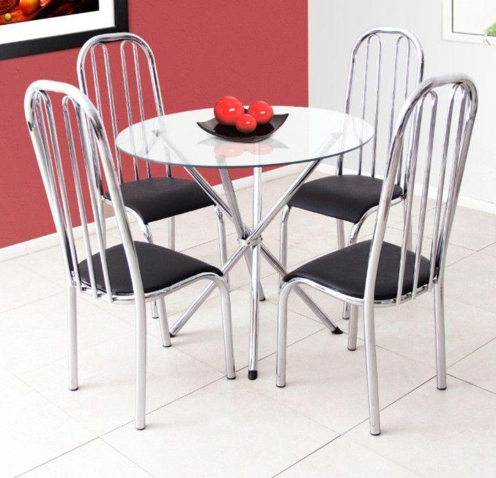 Conjunto Florença 4 cadeiras c/ tampo de vidro redondo Aço Cromado - Quality