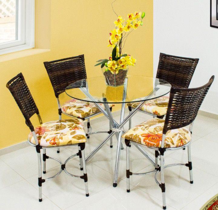 Conjunto Florença tampo de vidro redondo c/4 cadeiras Aço Cromado - Quality